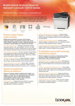 Multifunkčná farebná laserová tlačiareň Lexmark CX410 Series