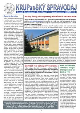 KRUPanSKÝ spravodaj - august 2010