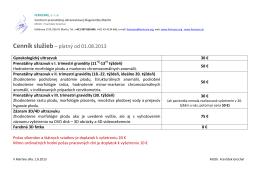 Cenník služieb – platný od 01.08.2013