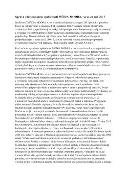 Správa o hospodárení spoločnosti MÉDIA MODRA