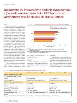 Subkutánne vs. intravenózne podanie trastuzumabu v (neo