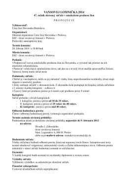 vansovej lomnička 2014 - DJZ - ÚTVAR OSVETOVEJ ČINNOSTI