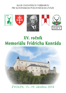 na Xv. ročník memoriálu fridricha Konráda