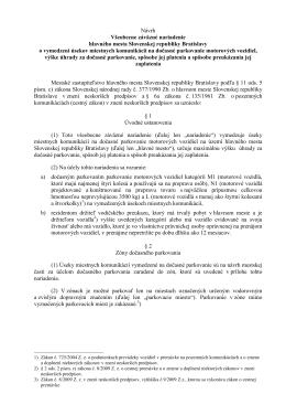 NÁVRH Všeobecne záväzné nariadenie hlavného mesta SR
