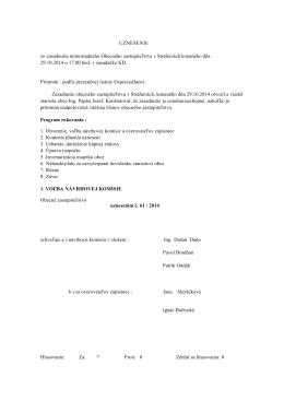 Zápisnica zo dňa 29.10.2014