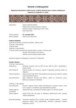 Program - Katedra etnológie a folkloristiky