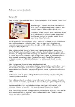 Tachografy - záznamové zariadenia Karta vodiča - Net