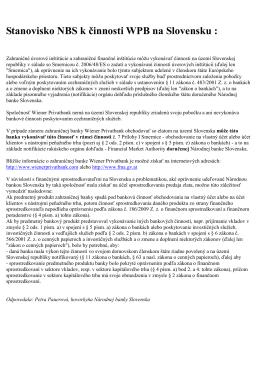 Stanovisko NBS k činnosti WPB na Slovensku :