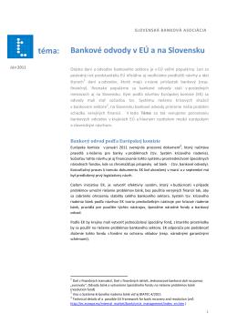 Bankové odvody v EÚ a na Slovensku téma: