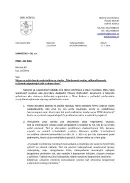 list Váhostavu s požiadavkami na vysvetlenie situácie pri