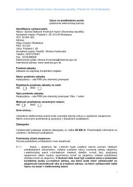 Výzva platina - Správa štátnych hmotných rezerv Slovenskej republiky