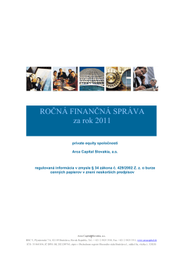 ROČNÁ FINANČNÁ SPRÁVA za rok 2011