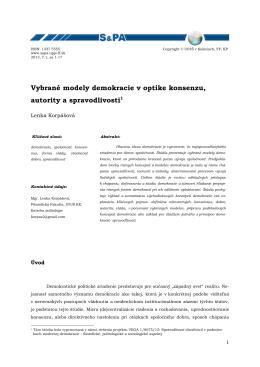 Vybrané modely demokracie v optike konsenzu, autority a