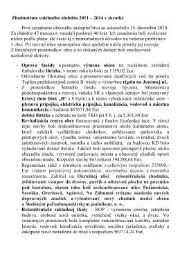 Zhodnotenie voleb.obd. 2011-2014 v skratke
