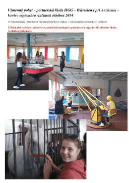 Výmenný pobyt – partnerská škola HGG – Würselen ( pri
