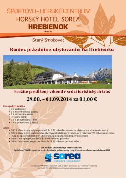Koniec prázdnin s ubytovaním na Hrebienku 29.08. – 01.09