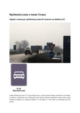 Rýchlostná cesta v meste Trnava