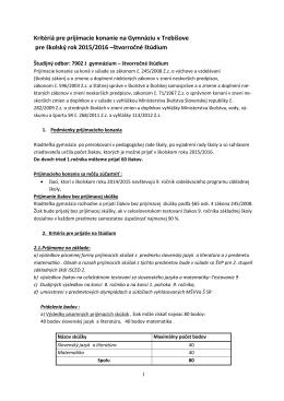 kritéria pre štvorročné štúdium 2015/2016