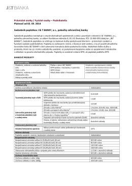 Podnikatelia Platnosť od 02. 05. 2014 Sadzobník