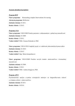 Zoznam aktuálnych projektov Program RNP Názov programu