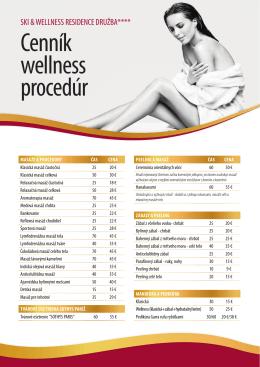 Cenník wellness procedúr