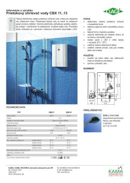 Prietokový ohrievač vody CBX 11..13