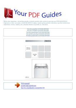 Návod na používanie ZANUSSI ZDTS101