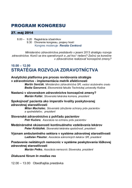 PROGRAM KONGRESU STRATÉGIA ROZVOJA