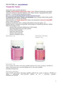 Vitamín B3, Niacín: - xxl