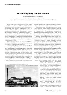 História výroby cukru v Seredi - Listy cukrovarnické a řepařské