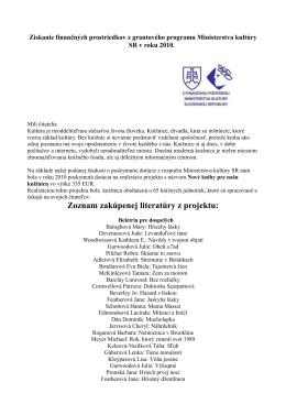 Zoznam zakúpenej literatúry z projektu: