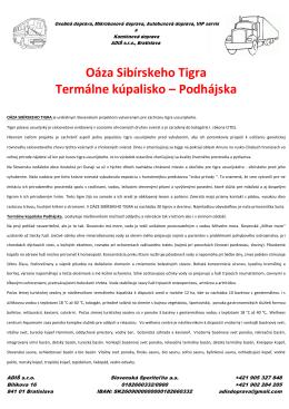 Oáza Sibírskeho Tigra Termálne kúpalisko – Podhájska