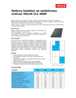 Solárny kolektor so selektívnou vrstvou VELUX CLI 4000