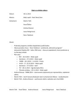 Zápis zo schôdze výboru Dátum: 30.11.2013 Miesto: Malý Lapáš