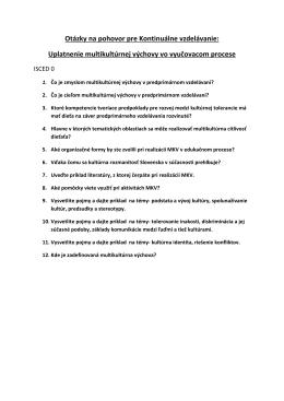 Otázky na pohovor pre Kontinuálne vzdelávanie