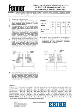 Návod na inštaláciu hriadeľovej spojky Fenaflex