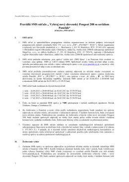 """Pravidlá SMS súťaže """" Vyhraj nový slovenský Peugeot"""