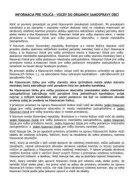informácia pre voliča - voľby do orgánov samosprávy obcí