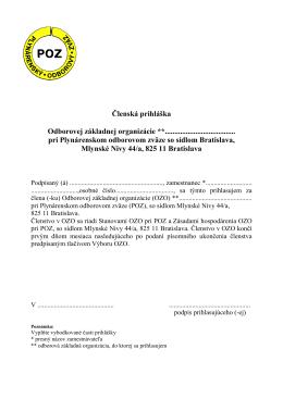 Prihláška vo formáte PDF