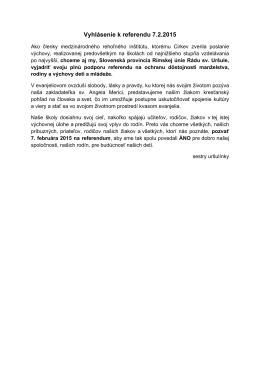 Vyhlásenie k referendu 7.2.2015