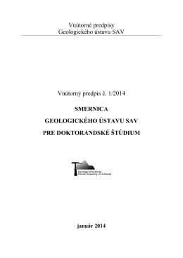 Smernica Geologického ústavu SAV pre doktorandské štúdium