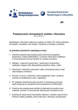 SK Übersetzung - Ausführung von Dienstleistungen in DE (Stand