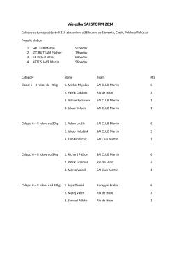 Výsledky SAI STORM 2014