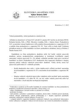 doplňovacie volby do PSAV vyhlásené vo februári 2015