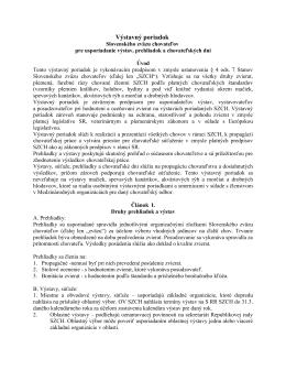 Výstavný poriadok - ZO SZCH Nitrianske Rudno