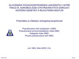 Snímek 1 - Slovenská poľnohospodárska univerzita v Nitre