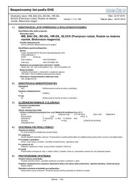 Bezpečnostný list podľa EHS