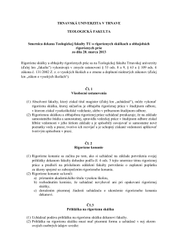 Smernica dekana Teologickej fakulty o rigoróznych skúškach a