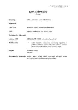 JUDr. Ján ŠINKOVIC - černejová & hrbek