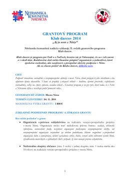 GRANTOVÝ PROGRAM Klub darcov 2014